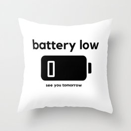 Battery Low Throw Pillow