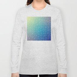 Abstract Blue Geometric Triangulated Design Long Sleeve T-shirt