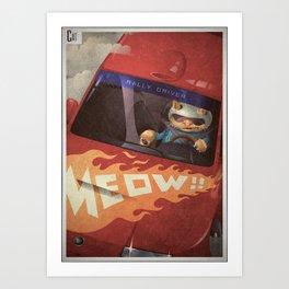 A-Z Animal, Cat Rally Driver - Illustration Art Print
