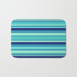 Preppy Stripes - Aqua Blues Bath Mat