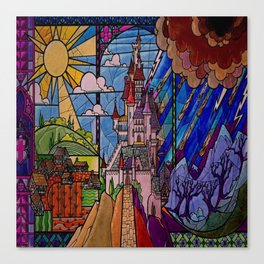 Castle Stained Glass Canvas Print
