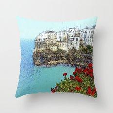 village on the sea Throw Pillow