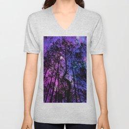 Black Trees Purple Fuchsia Blue space Unisex V-Neck