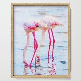 Flamingo Pink #wildlife #watercolor Serving Tray