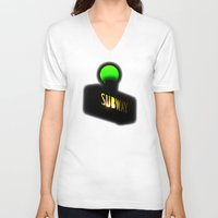 subway V-neck T-shirts featuring Subway by Jack O'Dowd