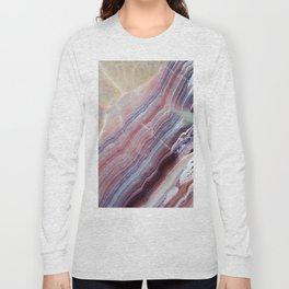 Purple & Pink Striped Agate Geode Quartz Slab Long Sleeve T-shirt
