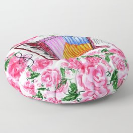 Accordion with pink roses Floor Pillow