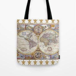 Vintage Map with Stars Tote Bag