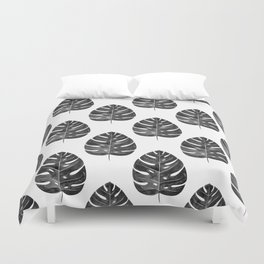 Monstera Leaf | Black and White Duvet Cover