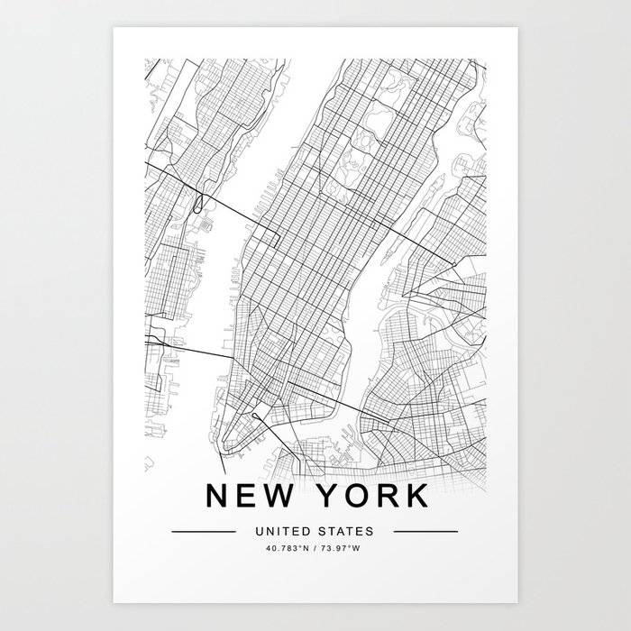 New York Map, Manhattan, USA City Map Kunstdrucke