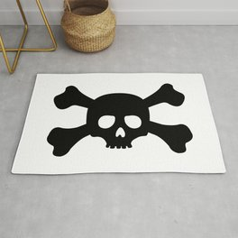 Simple Black Skull and Crossbones Rug