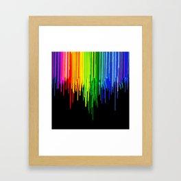 Rainbow Paint Drops on Black Framed Art Print