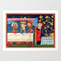 federico babina Art Prints featuring L'Epoca di Federico II - Il banchetto by Francesca Cosanti