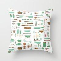 kitchen Throw Pillows featuring Kitchen by Mathilde Ruau