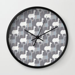 Gray Pink and White Llama Silhouette Seamless Wall Clock