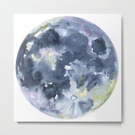 Full Moon Watercolor Metal Print