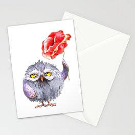 Owl and poppy Stationery Cards