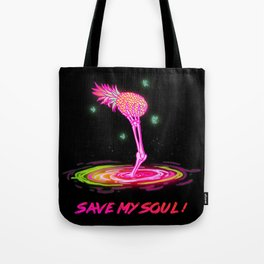 save my soul neon tropical pineapple skeleton illustration tumblr glow drawing Tote Bag