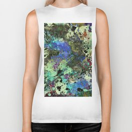 Deep In Thought - Black, blue, purple, white, abstract, acrylic paint splatter artwork Biker Tank