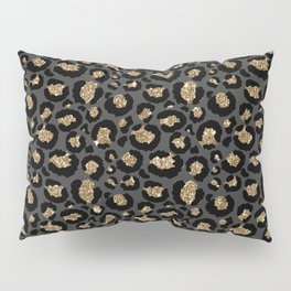 Black Gold Leopard Print Pattern Pillow Sham