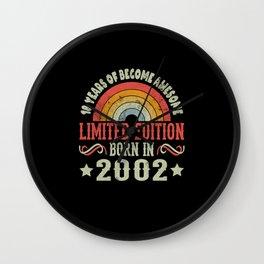 18 Years Birthday Limited Edition Born 2002 Wall Clock