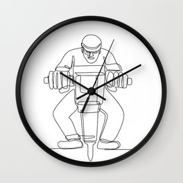 Construction Worker Jackhammer Continuous Line Wall Clock