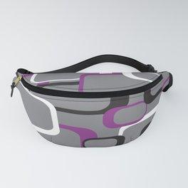 Violet Purple White Black Retro Square Pattern Gray Fanny Pack