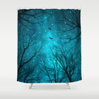 birds Shower Curtains featuring Stars Can't Shine Without Darkness  by soaring anchor designs