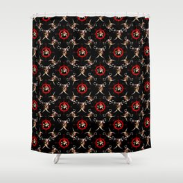 Nautical Pirate Skulls And Swords Shower Curtain