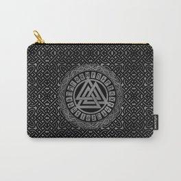 Silver Metallic Valknut Symbol on Celtic Pattern Carry-All Pouch