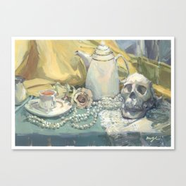 tea, roses and skull Canvas Print