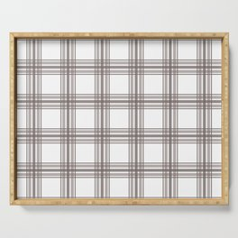 Farmhouse Plaid in Taupe Brown and White Serving Tray