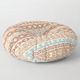 Aztec Stylized Pattern Blue Cream Terracottas Floor Pillow