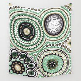 Green and Gold Rings Wall Tapestry