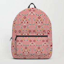 Fall Winter Floral Pattern Rose Tan BG Backpack