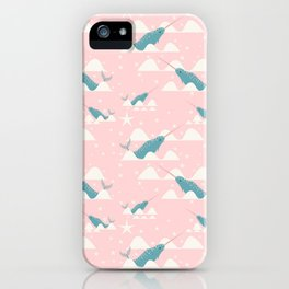 narwhal in ocean pink iPhone Case