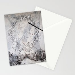 Black and white abstract city landscape Stationery Cards