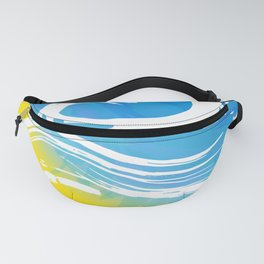 i need vitamin sea White text on blue abstract background, symbol of the sea ocean trendy print Fanny Pack