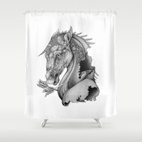 knight Shower Curtains featuring The King's Lost Knight by Caitlin Hackett