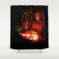 meditation Shower Curtains featuring Meditation by Christine Belanger