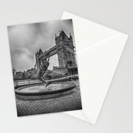 Girl with a Dolphin at Tower Bridge 2 Stationery Cards
