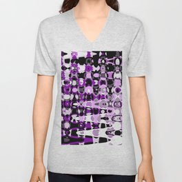 Black Purple marble Design Unisex V-Neck