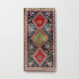 Luri Fars Southwest Persian Animal Carpet Print Metal Print