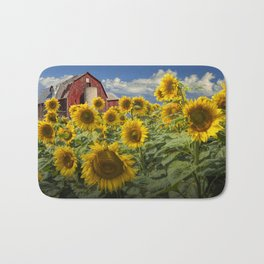 Golden Blooming Sunflowers with Red Barn Bath Mat