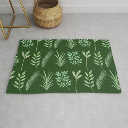 Bouquet of branches and leaves pattern,  Dark Green background Rug