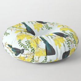 Tuis in the Kowhai Flowers Floor Pillow