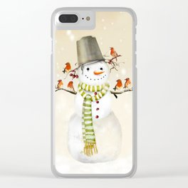 Snowman and Birds Clear iPhone Case