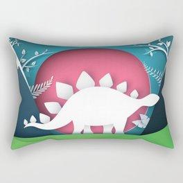 3D Paper Art Dino In the Mountains Rectangular Pillow