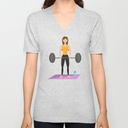 Strong Fitness Girl Deadlifting Weights Cartoon Illustration Unisex V-Neck