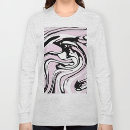Black, White and Pink Graphic Paint Swirl Pattern Effect Long Sleeve T-shirt